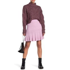 Free People New Orchid Solid Gold Ribbed Skirt